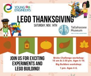 This Saturday, the Tallahassee Museum is hosting a Lego Thanksgiving with the @ye_tally! 😄   Register here: https://tallahassee.e2youngengineers.com/location-and-program/  #TallahasseeMuseum #TallahasseeFl #iHeartTally #ExploreFL #LoveFL #Museum #LiveMuseum #FamilyVacation #FunForKids #Legos